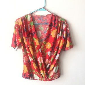 Zara Red Floral top Size S